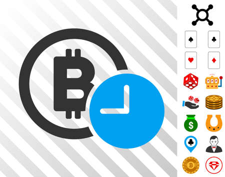 Bitcoin Credit Clock pictograph with bonus casino symbols. Vector illustration style is flat iconic symbols. Designed for casino ui.