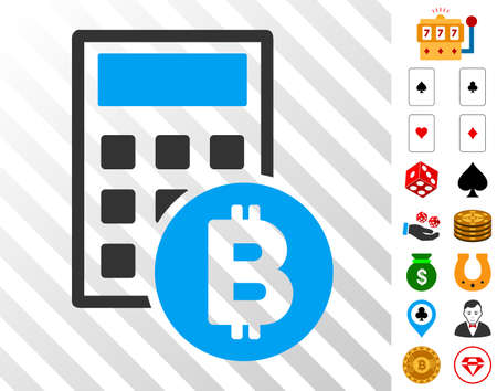 Bitcoin Calculator pictograph with bonus casino clip art. Vector illustration style is flat iconic symbols. Designed for gamble apps.