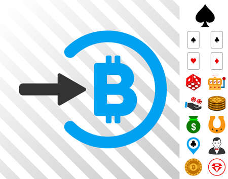 Bitcoin Income pictograph with bonus casino symbols. Vector illustration style is flat iconic symbols. Designed for casino apps.