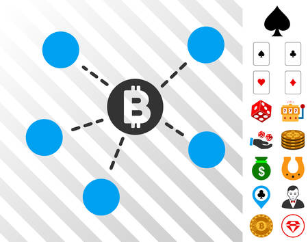 Bitcoin Net Structure pictograph with bonus gambling symbols. Vector illustration style is flat iconic symbols. Designed for gamble ui.