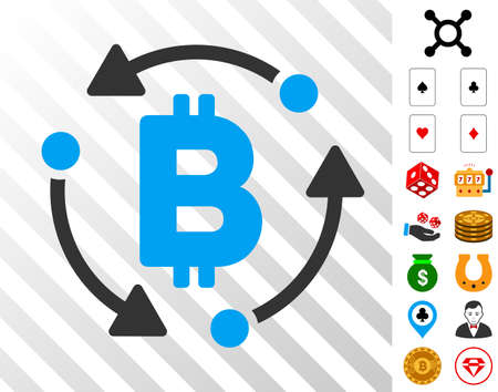 Bitcoin Rotation pictograph with bonus casino pictograms. Vector illustration style is flat iconic symbols. Designed for casino software. Illustration
