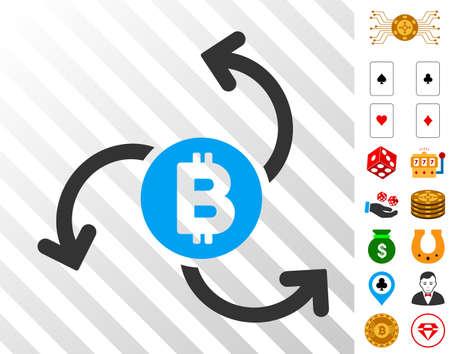 Bitcoin Source Swirl icon with bonus gamble symbols. Vector illustration style is flat iconic symbols. Designed for casino websites. Illustration