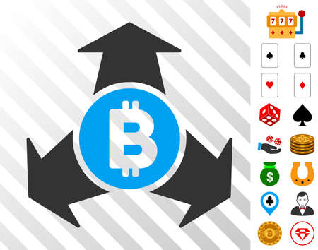 Bitcoin Spend Arrows icon with bonus casino images. Vector illustration style is flat iconic symbols. Designed for casino software.