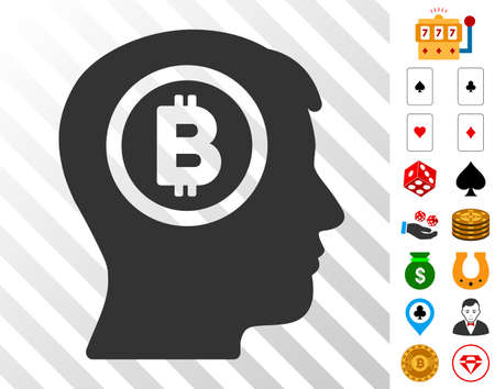 Bitcoin Thinking Head icon with bonus gambling graphic icons. Vector illustration style is flat iconic symbols. Designed for casino websites.