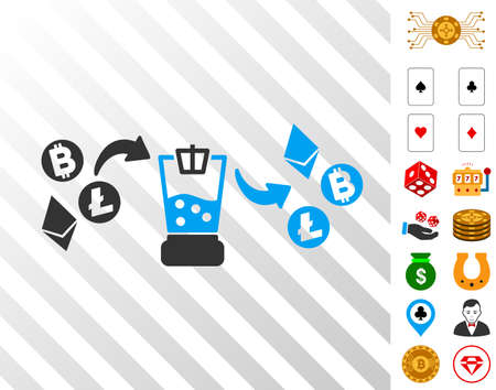 Cryptocurrency Mixer icon with bonus gamble pictures. Vector illustration style is flat iconic symbols. Designed for casino ui. Illustration