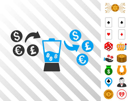 Currency Mixer pictograph with bonus casino images. Vector illustration style is flat iconic symbols. Designed for gambling websites.