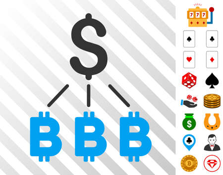 Dollar Bitcoin Links pictograph with bonus casino pictographs. Vector illustration style is flat iconic symbols. Designed for casino software. Illustration
