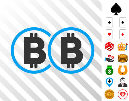 Double Bitcoin pictograph with bonus casino graphic icons. Vector illustration style is flat iconic symbols. Designed for gambling gui. Ilustracja