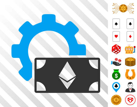 Ethereum Banknote Options Gear pictograph with bonus gamble graphic icons. Vector illustration style is flat iconic symbols. Designed for casino gui. Illustration
