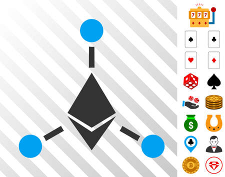Ethereum Links pictograph with bonus gambling clip art. Vector illustration style is flat iconic symbols. Designed for gambling ui.