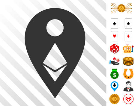 Ethereum Map Marker pictograph with bonus gamble clip art. Vector illustration style is flat iconic symbols. Designed for gamble apps. Vectores