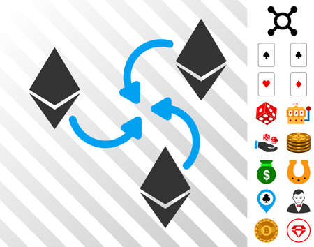 Ethereum Mixer Swirl pictograph with bonus gambling pictograms. Vector illustration style is flat iconic symbols. Designed for gamble websites.