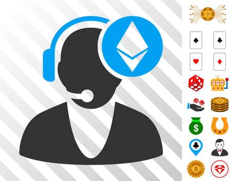 Ethereum Operator icon with bonus gamble symbols. Vector illustration style is flat iconic symbols. Designed for casino software. Vectores
