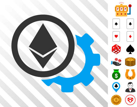 Ethereum Options Cogwheel icon with bonus casino clip art. Vector illustration style is flat iconic symbols. Designed for casino software. Illustration
