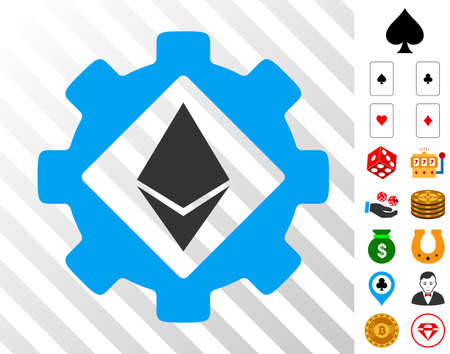 Ethereum Options Gear icon with bonus gamble design elements. Vector illustration style is flat iconic symbols. Designed for casino gui. Illustration