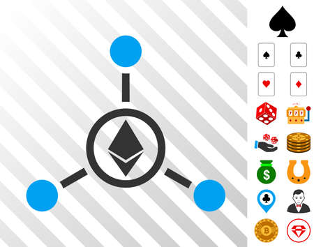 Ethereum Relations pictograph with bonus casino pictograms. Vector illustration style is flat iconic symbols. Designed for casino websites. Illustration