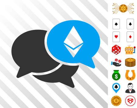 Ethereum Webinar Messages pictograph with bonus casino pictograms. Vector illustration style is flat iconic symbols. Designed for gambling software. Illustration