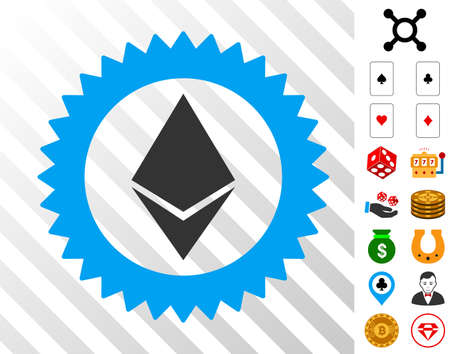 Ethereum Stamp Seal pictograph with bonus gamble images. Vector illustration style is flat iconic symbols. Designed for casino gui.