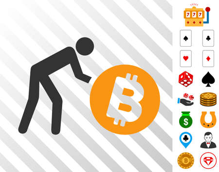Worker Roll Bitcoin icon with bonus gamble images. Vector illustration style is flat iconic symbols. Designed for gambling websites.
