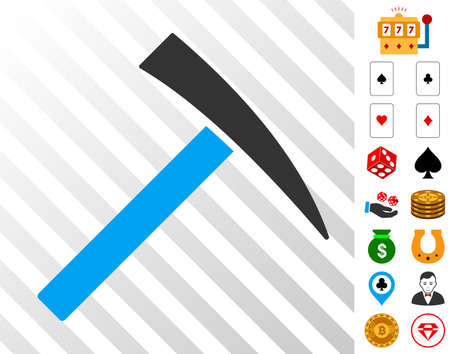 Mining Hammer icon with bonus casino pictograms. Vector illustration style is flat iconic symbols. Designed for casino ui. Ilustração