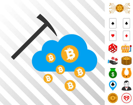 Bitcoin Cloud Mining pictograph with bonus casino design elements. Vector illustration style is flat iconic symbols. Designed for gamble gui. Illustration