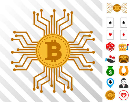 Bitcoin Circuit Links pictograph with bonus gamble pictures. Vector illustration style is flat iconic symbols. Designed for gambling software.