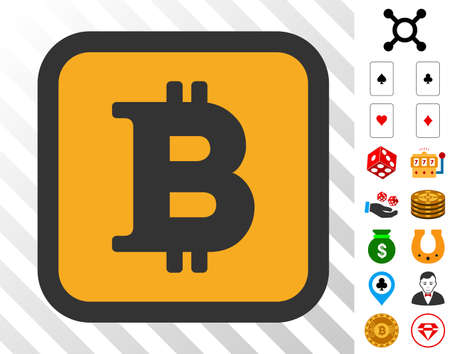 Bitcoin Button pictograph with bonus gambling symbols. Vector illustration style is flat iconic symbols. Designed for gamble ui. Ilustracja