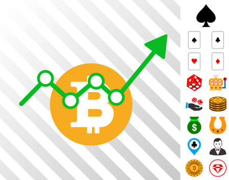 Bitcoin Growth Trend icon with bonus casino clip art. Vector illustration style is flat iconic symbols. Designed for casino websites. Illustration