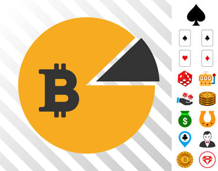 Bitcoin Pie Chart icon with bonus gambling images. Vector illustration style is flat iconic symbols. Designed for gamble websites.