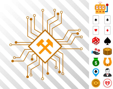 Mining Processor Circuit pictograph with bonus gamble pictures. Vector illustration style is flat iconic symbols. Designed for gamble ui.