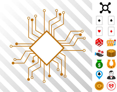 Processor Circuit icon with bonus gamble design elements. Vector illustration style is flat iconic symbols. Designed for casino software.