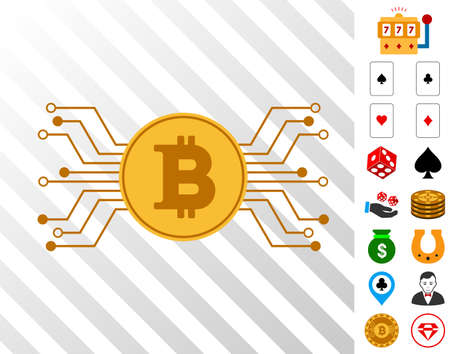 Bitcoin Circuit Links icon with bonus gamble icons. Vector illustration style is flat iconic symbols. Designed for casino gui.