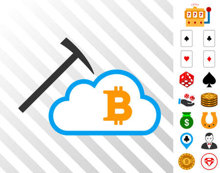 Bitcoin Cloud Mining pictograph with bonus casino images. Vector illustration style is flat iconic symbols. Designed for casino websites.