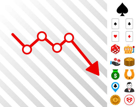 Down Trend Arrow pictograph with bonus casino images. Vector illustration style is flat iconic symbols. Designed for gambling gui.