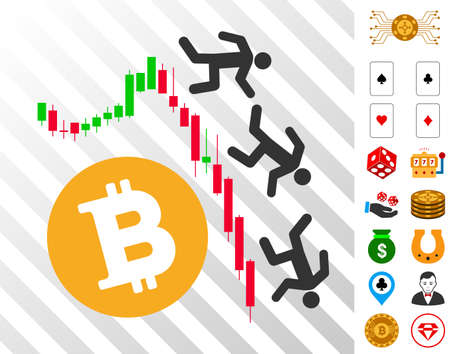 Falling Bitcoin Traders icon with bonus gambling icons. Vector illustration style is flat iconic symbols. Designed for gambling websites.
