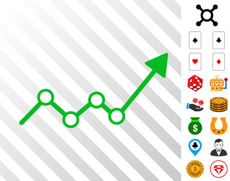 Growth Trend Arrow icon with bonus gamble pictograms. Vector illustration style is flat iconic symbols. Designed for gambling apps.