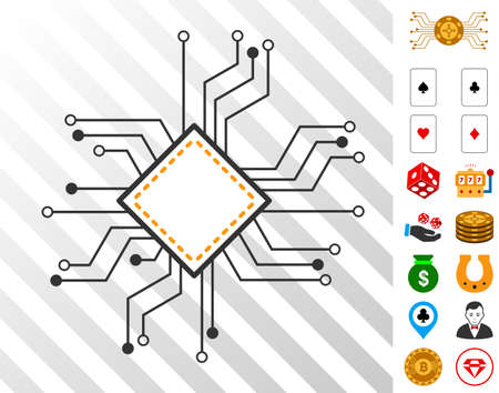 Processor Circuit pictograph with bonus casino graphic icons. Vector illustration style is flat iconic symbols. Designed for gambling ui.