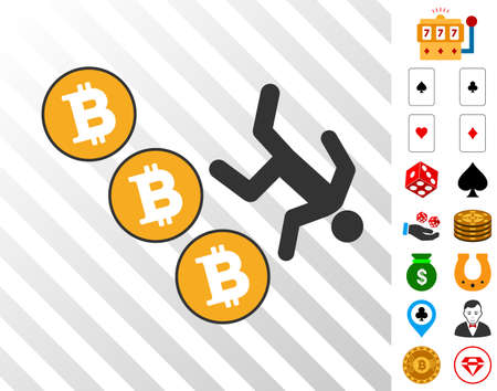 Person Fall Down Bitcoins icon with bonus gamble clip art. Vector illustration style is flat iconic symbols. Designed for gambling gui. Illustration