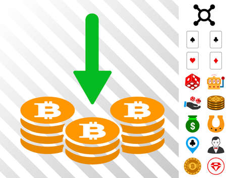 Receive Bitcoin Coins icon with bonus gambling symbols. Vector illustration style is flat iconic symbols. Designed for casino apps.