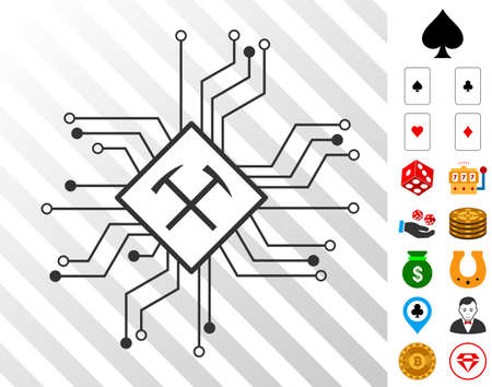 Mining Processor Circuit icon with bonus gambling graphic icons. Vector illustration style is flat iconic symbols. Designed for gamble websites. Illustration