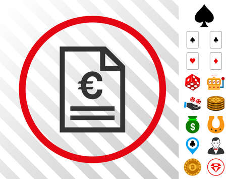 Euro Invoice Page grey pictograph rounded with red circle with bonus gamble design elements. Vector illustration style is flat iconic symbols. Designed for gambling software.
