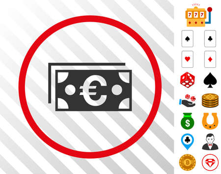 Euro Banknotes grey icon inside red circle with bonus gambling pictographs. Vector illustration style is flat iconic symbols. Designed for gamble gui.