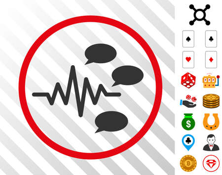 Gossip Generation Signal gray pictograph rounded with red circle with bonus gambling symbols. Vector illustration style is flat iconic symbols. Designed for gamble software.