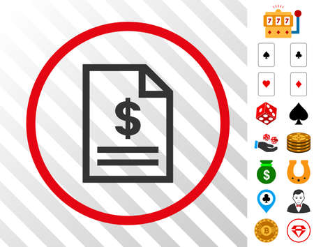 Invoice Page gray pictograph inside red round frame with bonus gamble pictures. Vector illustration style is flat iconic symbols. Designed for gamble gui.
