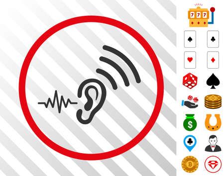 Listen And Transmit grey icon inside red round frame with bonus gambling pictures. Vector illustration style is flat iconic symbols. Designed for gambling gui. Banco de Imagens - 93734180