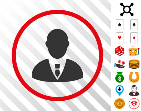 Manager grey pictograph inside red circle with bonus gambling graphic icons. Vector illustration style is flat iconic symbols. Designed for gambling websites.