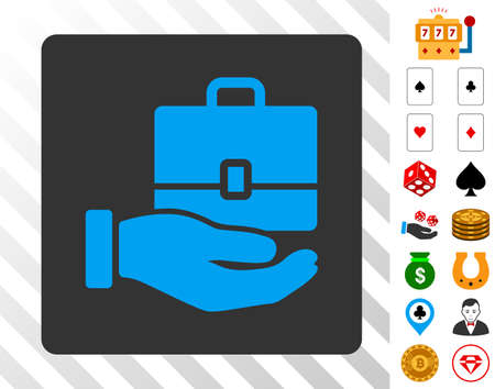 Accounting blue icon inside gray rounded square with bonus gamble design elements. Vector illustration style is flat iconic symbols. Designed for gambling websites.
