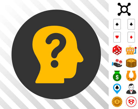 Anonymous Person icon with bonus gamble symbols. Vector illustration style is flat iconic symbols. Designed for gambling websites.