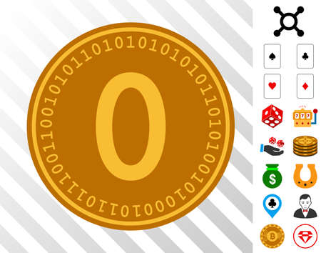 Zero Digital Coin pictograph with bonus casino symbols. Vector illustration style is flat iconic symbols. Designed for casino apps. Ilustração