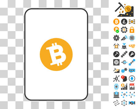Bitcoin gambling card icon with additional bitcoin mining and blockchain pictographs. Flat vector pictograms for cryptocurrency websites.